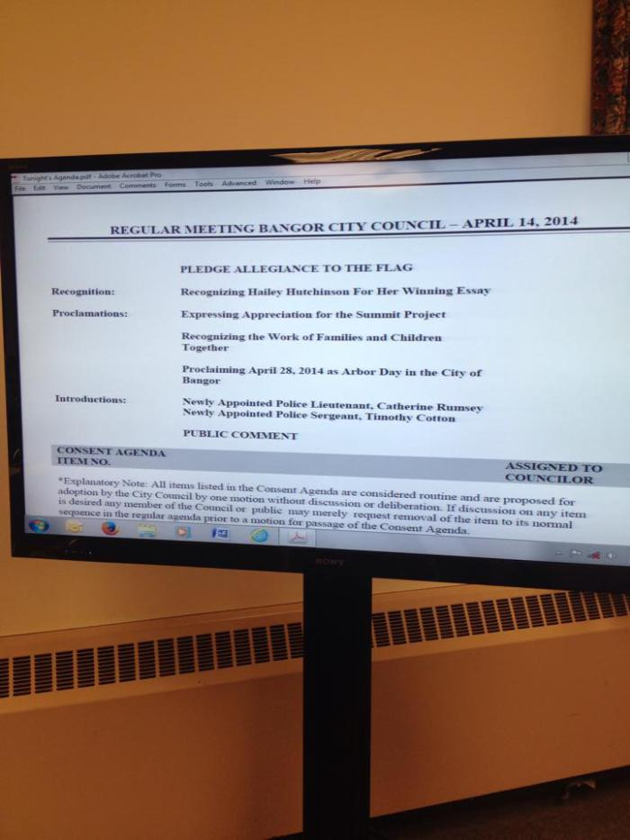 Official Proclamation from the Bangor City Council Meeting on April 14, 2014