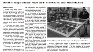 The Summit Project comes to Thomas Memorial Library