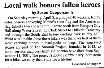 Local Walk Honors Fallen Heroes — Eastport, Maine